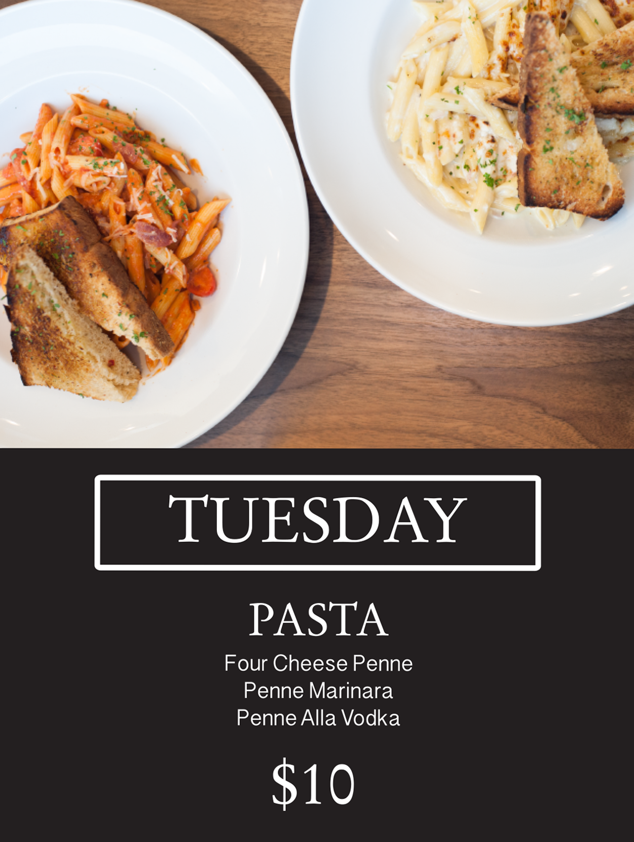 Promotional image for Tuesday $10 Pasta Special